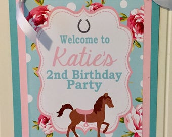 SHABBY CHIC HORSE Theme Happy Birthday or Baby Shower Door or Welcome Sign - Navy Green - Party Packs Available