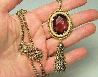 Purple Rhinestone Cameo Tassle Necklace