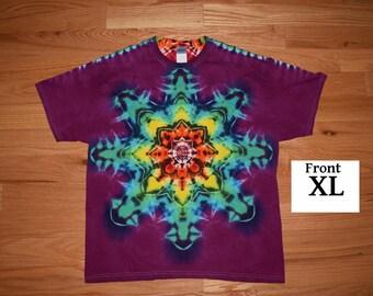 Tie Dye T-Shirt ~ Rainbow Mandala With Raspberry Purple Background ~ C_0069 in Adult XL