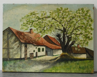 "French Artwork, Oil on Canvas 15.3/4"" x 11.3/4""..signed and dated 1967"