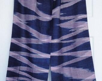 Indigo Scarf - Hand Woven - Organic Naturally Dye - Bohemian Ikat - Winter - Christmas Gift - Holiday