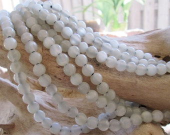 Silvery White Moonstone Big Hole Bead 7.5-8.5mm Large 2.5 Hole Fits 2mm Leather 10 beads