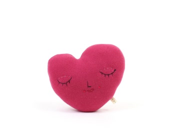 Heart pillow - soft knitted toy, pillow