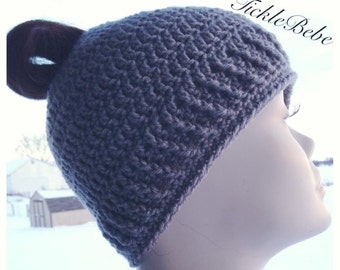 Adult and Child Sizes - Messy Hair Ponytail Hat - Messy Bun Hat - Running Hat - Gray Acrylic Blend Yarn  - Handmade - Crocheted