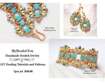 Beaded Bracelet, SuperDuo Bracelet,Southwest Jewelry,Seed Bead Earring,Turquoise Beadwork,Beadwoven Bracelet,Beaded Jewelry Set, MyBeads4You