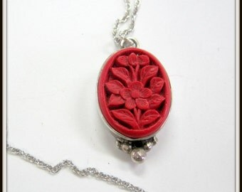 Carved Cinnabar Pendant - Sterling Bezel and Chain - 18 inch Sterling Chain