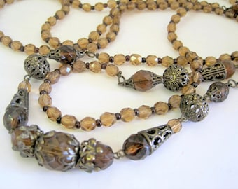 Topaz Necklace - Vintage Glass Bead Flapper - Art Deco 60 Inch Long Necklace = Smokey Topaz - Spectacular Statement Necklace