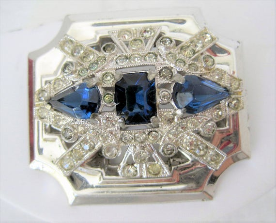 McClelland Barclay Brooch - Art Deco Vintage Jewelry - 30's Sapphire Rhinestone Pin