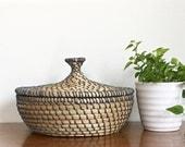 Vintage Woven Basket Lidded Covered Coil Round Storage Grey Raffia Boho Decor