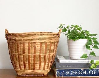 Vintage Woven Basket Planter Bamboo Handled Rattan Indoor Planter Rustic Boho Jungalow Style