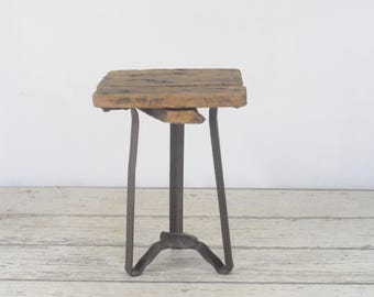 Vintage/Antique Metal and Wood Stool Milking Stool Small Stool : vintage metal stool - islam-shia.org