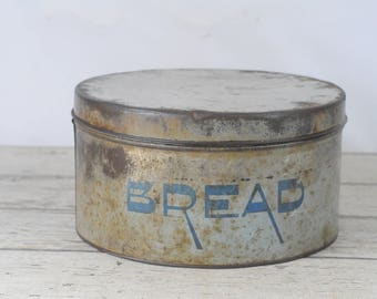 Vintage Bread Box Vintage Yellow and Blue Bread Cake Box Bread Tin