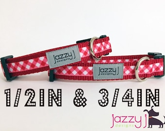 Red and White Gingham Plaid Dog Collar