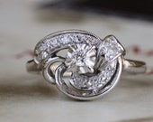Mid Century Love Knot .21cttw Diamond Engagement Ring, 14k Gold Diamond Cocktail Ring, Vintage Anniversary Ring, Retro 1940s Diamond Ring