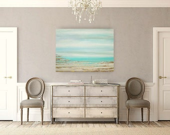 "Original, Beach, Painting, Shabby Chic Art Original Acrylic Abstract Beach Painting Titled: A Dream Of Summer 20 30x40x1.5"" by Ora Birenbaum"