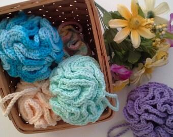 Cotton Bath Poufs, Bath Scrubber, Bath Puff, Cotton Scurbber, Cotton Loofah, Reusable Loofah