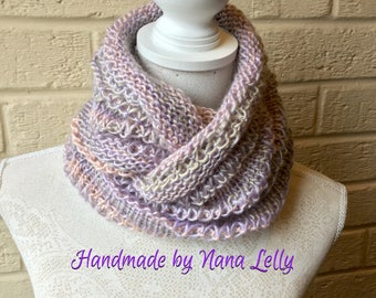 Luxurious Silky Pastel Knit Cowl. Circular Scarf, Infinity Scarf, Neckwarmer, Shawl  (Sage, Pink & Purple mix) Stylish Winter accessory.