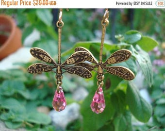 Dragonfly Earrings,Dragonfly gifts,Jewelry, Handmade, Dragonfly Earrings,Delicate & Detailed Dragonflies,Large Pink Swarvoski Crystals