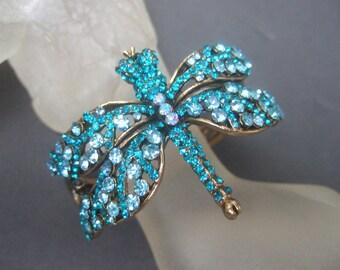 Aquamarine Glittering Crystal Dragonfly Bracelet