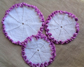 Crochet Doily or Hotpad Set of Three White and Variegated Purple