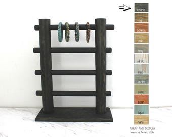 Collapsible Wood Bracelet Display, Black Bracelet Stand, Bracelet Organizer, Black Retail Store Fixtures, Trade Show Displays, BoothDisplays