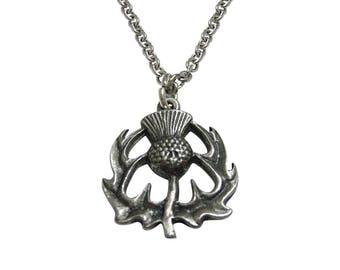 Textured Scottish Thistle Pendant Necklace