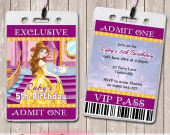Belle Beauty & The Beast Personalised VIP Lanyard Birthday Invitations x 10