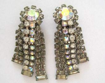 SALE Hobe Rhinestone Long Dangle Earrings. Large Clear AB Center Stones. Clear AB Double Strands Below.  Gray Outer Double Stands.