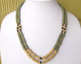 Sage Green & Bone 2-Strand Tribal Necklace Probably dates to 1970's.  Brown/Black Accent Beads.  Great with Neutrals.