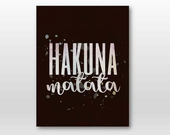 Brown Hakuna, Timone and Pumpa Lion King Inspirational Quote.. digital file