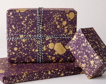 Gold Drops Gift Wrap | Plum/Gold | 3 Sheets