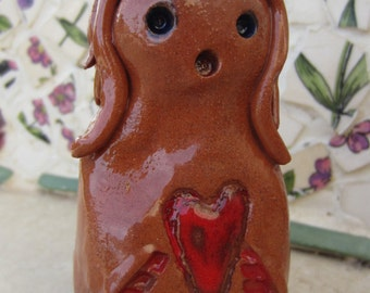 LOVE GOLEM - Golem One of a Kind Magical Mythical Protector Ceramic Figurine