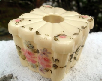 Vintage Menda Hair Receiver - Collectible Dressing Table Accessory - Hand Painted Floral Box for Saving Hair
