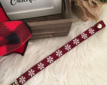 Black and Red Checkered Snowflake Christmas Pacifier Clip/ Binkie/ Nuk/ Soothie Clip