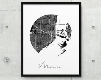 Miami Urban Map Print. Miami City Street Map Poster. Black & White Miami Florida Map Print. Minimalist Geometric Wall Art Art. Printable Art