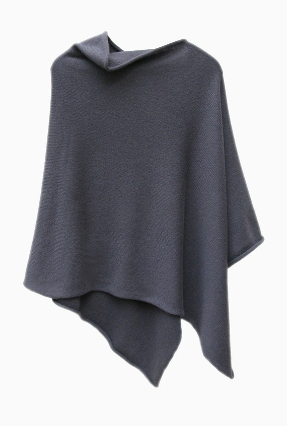 Midnight grey 4ply 100% cashmere poncho