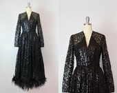 RESERVED / vintage 70s sequined dress / 1970s sequin feather dress / black sequined maxi dress / ostrich feather dress / Spellcaster dress