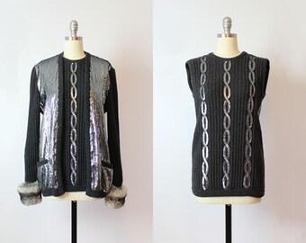 vintage VALENTINO sweater set / 1980s designer sweater set / silver sequined cardigan / grey beaded cardigan sweater / fur trim twinset