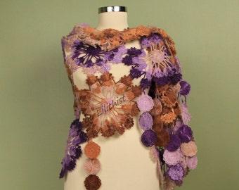 Crochet Shawl, Bridal Shawl, Shawl Scarf, Wedding Cover Up, Bridal Wrap, Flower Shawl, Wedding Shawl, Lace Wrap, Multicolor Scarf, Cape