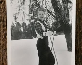 Original Vintage Photograph Lady Skier
