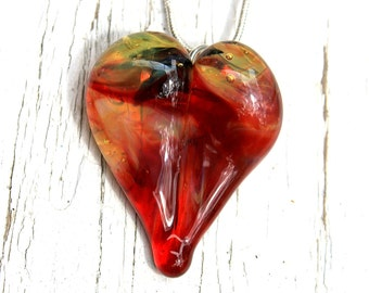 Blown Heart Necklace, Hand made Glass Bead, Lampwork Jewlery, Yellow and Red Heart