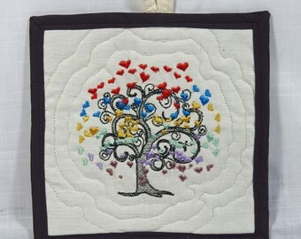 Tree of Hearts Mug Rug - Coaster - Snack Mat