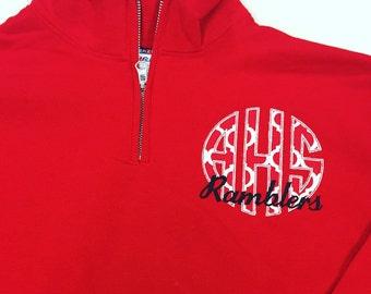 School Monogram Collection * Quarter Zip Sweatshirt * Applique