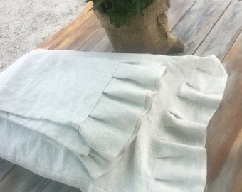 Linen ruffle pillow case