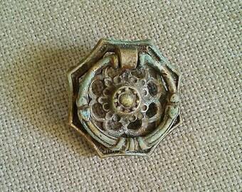 Ornate Vintage Metal Patinated Drawer Pull