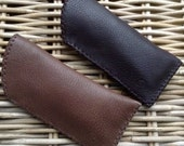 CLEARANCE SALE! Handstitched in UK taupe brown or dark brown soft thick leather glasses lined in brown felt