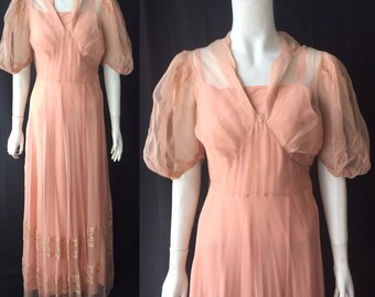 1930s ethereal gown with train