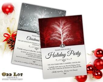 Holiday Party Invitation, Winter Invite, Winter Wonderland, Festive Holiday Party Invite, Printable Invitation, Rustic Invitation