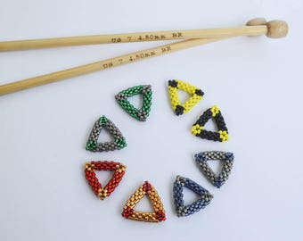 Hogwarts House Colors Bead Woven Triangle Stitch Markers Set Knitting Jewelry Knitting Notions Gift Ideas Harry Potter Theme