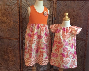 SiSTER SET ....girls tank style dress with coordinating flutter sleeve dress in True Colors by Anna Maria Horner...sizes 6 months -8 years